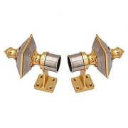 Home Dcor chrome finished metal Curtain Bracket Set Of 2 with support (Elegant look with strong material)
