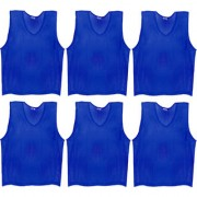 SAS Sports Training Bibs Scrimmage Vests Pennies for Soccer - Large size (62 x 54cm) Blue color Set of 6