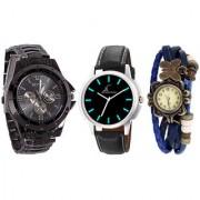 Jack Klein Combo of Round Dial Black Strap Stylish Elegant Analog Wrist Watches