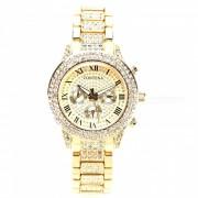 AIBBER TONE marca de lujo de las mujeres de acero inoxidable lleno de diamantes reloj de pulsera de cuarzo de ginebra regalo para damas de nina - oro