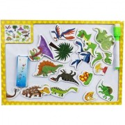 Emob 3 in 1 Wooden Magnetic Jigsaw Dinosaur Puzzle Game with Double Sided Board (Multicolor)