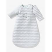 Saco de bebé acolchoado com mangas amovíveis, coleção Bio, tema Nuvem e triângulos branco claro liso