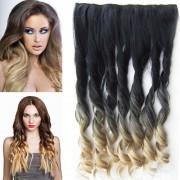 Clip in pás vlasů - lokny 55 cm - ombre (odstín Black T 24) - Světové Zboží