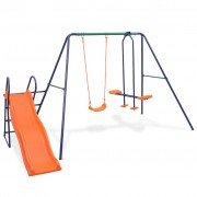 vidaXL Conjunto de baloiços com escorrega e 3 assentos laranja