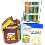 The Greens Hot Max Stainless steel Lunch Box with 3 Air Tight Containers Brand Himani