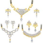 Sukkhi Astonish Gold Plated CZ Set of 3 Mangalsutra Set Combo For Women