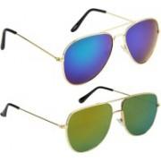 NuVew Aviator, Retro Square Sunglasses(Blue, Golden, Green)