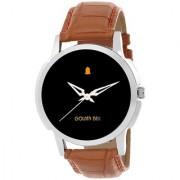 Golden Bell Men'S Brown Black Round Genuine Leather Strap Wrist Watch (411Gb)