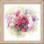 """RIOLIS 14 Count Watercolor Phlox Counted Cross Stitch Kit, 11.75 x 11.75"""""""