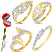 Sukkhi Valentine Collection Astonish Gold & Rhodium Plated CZ Combo With Rose Box For Women Pack Of 4