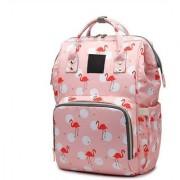 WAY BEYOND Peach Birds Printed Waterproof Multifunctional Diaper Travel Backpack Baby Diaper Bag (Peach)
