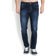 John Wills Men's Dark Blue Cotton Stretchable Slim Fit Jeans