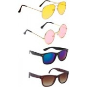 Elligator Aviator, Round, Wayfarer Sunglasses(Yellow, Pink, Blue, Brown)