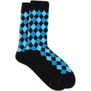 Soxytoes Diamonds Are Forever Black Cotton Calf Length Pack of 1 Pair Argyle for Men Formal Socks (STS0020D)