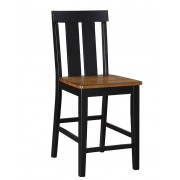Set of 2 Drake collection two tone finish wood slat back counter height bar chairs