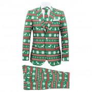 vidaXL 54-es méretű zöld kétrészes karácsonyi öltöny nyakkendővel