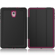 Tri-fold Stand Leather Case with Wake/Sleep Function for Samsung Galaxy Tab A 10.5 (2018) T590 T595 - Black / Rose