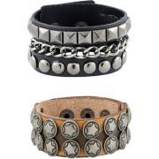The Jewelbox Curb Star Slim Design 100% Genuine Handcrafted Dark Light Brown Black Wrist Band Strap Combo Pack Of 2 Bracelet Boys Men