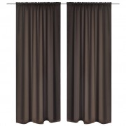 vidaXL 2 pcs Brown Slot-Headed Blackout Curtains 135 x 245 cm