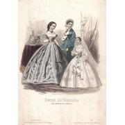 Gravura colorata - Moda pariziana - 1861