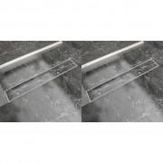 vidaXL 2 db lineáris rozsdamentes acél zuhany lefolyó 730 x 140 mm