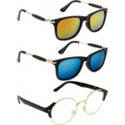 NuVew Round, Wayfarer Sunglasses(Clear, Golden, Blue, Orange)