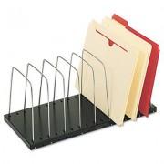 Wire Desktop Organizer, Eight Sections, 18 3/8 X 8 1/2 X 7 3/4, Black/silver