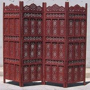 Shilpi Handicrafts Wooden Room Divider Screen Partition Made in Mango Wood Frame Jali in MDF Panel 4