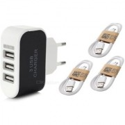 Combo (C5) of 3 USB Fast Charger and 3 Pcs Data Cables (Assorted colors) by KSJ Accessories