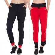Cliths Pack of 2 Black and Red Designer Track Pant Cotton Slim Fit Yoga Pant for Women/Girls