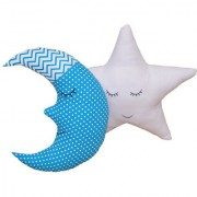 Oscar Home Shaped Pillow Moon Star Shape Soft Toy Perfect Birthday Gift Sky Blue White