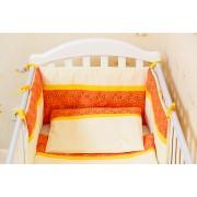 Protectie jumatate patut 60 x 120 cm Inimioare portocalii cu galben