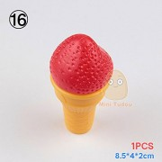 MiniTudou Kids Plastic Food Toy Pretend Play Kitchen Set Parts Miniature Cake Hamburgers Cookies Children Educational Toys - Red Ice Cream
