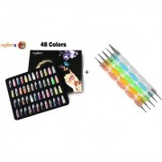 Royalkart 53 Pcs Exciting Nail Art Tools 48 Bottles 3D nail art AND 5 Pcs Double Sided Nail Dotting Tool Pen.