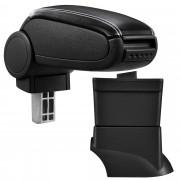 [pro.tec]® Lakťová opierka pre Fiat 500 - lakťová opierka - s odkladacím priestorom - koženka - čierna, biele prešitie
