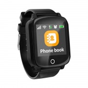 Ceas inteligent pentru seniori WONLEX EW200S Negru cu telefon, localizare GPSWiFi, monitorizare spion si monitorizare ritm cardiac