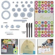 MC CHENMEI Spiral Drawing Gear Art Design Set 27 Pieces & 5 Color Pencils Pencil Sharpener Languages Guiding Books (Gift Box2)