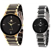 IIK Collection Black-Gold and IIK Silver-Black Women Couple watches for Men and Women