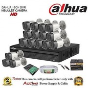 Dahua HDCVI DH-HCVR4116H-S2 16CH DVR + DH-HAC-HFW1000RP-0360B Bullet Camera 16Pcs + 2TB HDD + Active Cable + Active Power Supply Full Combo