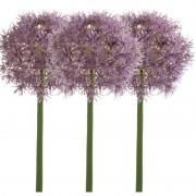 Merkloos 3x Aubergine paarse allium/sierui kunstbloemen 65 cm