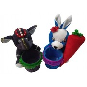Aparshi Rabbit with carrot and Elephant stuffed soft toy pen stand (Pack of 2)