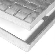 Kovová ocelová čistící venkovní vstupní rohož bez gumy s pracnami ze svařovaných podlahových roštů Galva, FLOMAT - délka 101,5 cm, šířka 101,5 cm a výška 3,5 cm