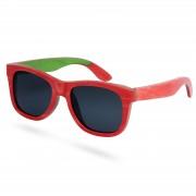 Paul Riley Lunettes de soleil bois planche de skate rouge et verres polarisés