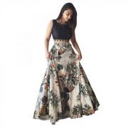 Latest New Designer Grey Color Banglori Silk Satin Semi Stitched printed Lehenga Choli By Omstar Fashion (FOXYGREY)
