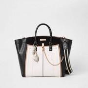 River Island Zwarte grote handtas met contrast en zij-inzetten Dames