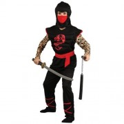 Wicked Costumes (M) Boys Muscle Chest Ninja Warrior Costume for Oriental Fancy Dress Kids Childs - Black