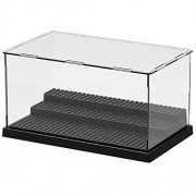 Nokere 3 Steps Display Case/Box Dustproof ShowCase For Blocks Acrylic Plastic Display Assembly Transparent Clear Black Base Box Christmas Gifts for Kids 10.04X6.10X5.43 in