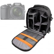 Sac à dos noir résistant à l'eau pour appareils photo Panasonic Lumix GF8, Nikon Coolpix B500 et B700 Bridge, Pentax K-1 SLR et leurs accessoires - compartiments modulables