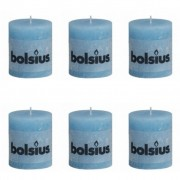 Bolsius Rustic Pillar Candle 80 x 68 mm Aqua 6 pcs
