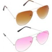 Hrinkar Aviator Sunglasses(Brown, Pink)